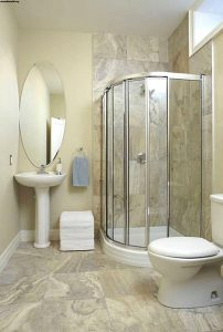Beige Basement Bathroom for Limited Space