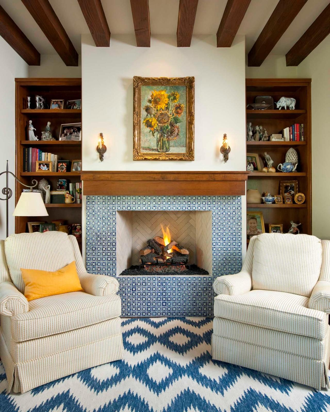 fireplace base tile ideas