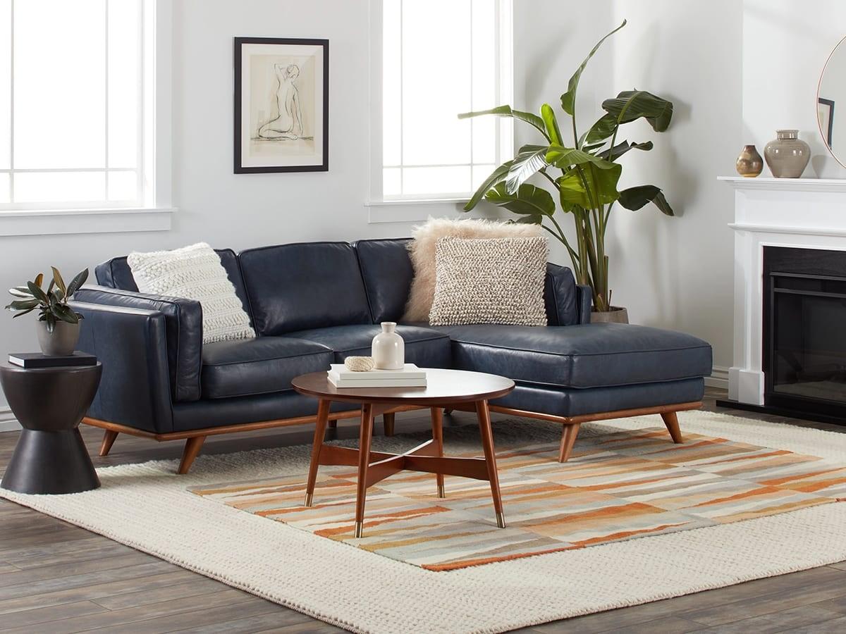 mid century modern boho living room