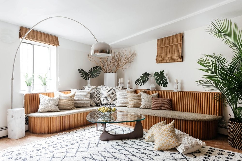 mid century modern asian living room